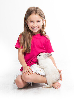 girl with little bunny rabbit